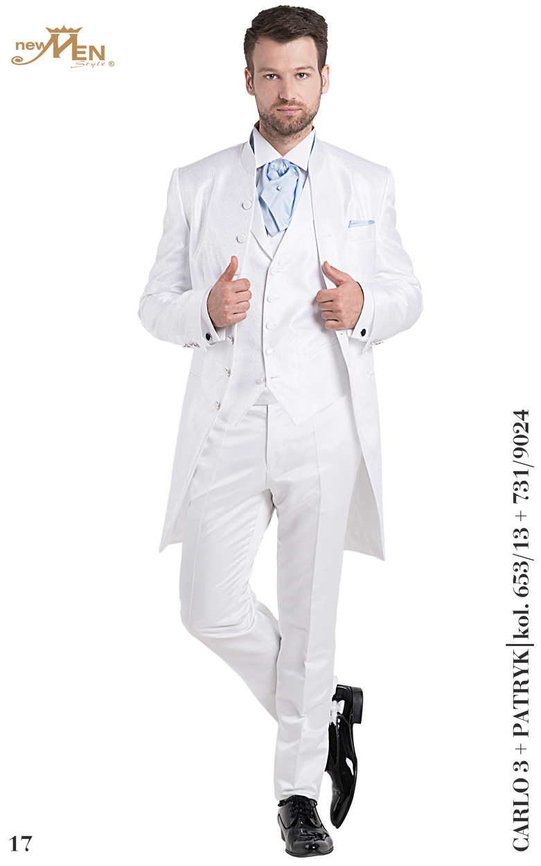 dreiteilige Anzüge Carlo Weißer Gehrock mit Stehkragen