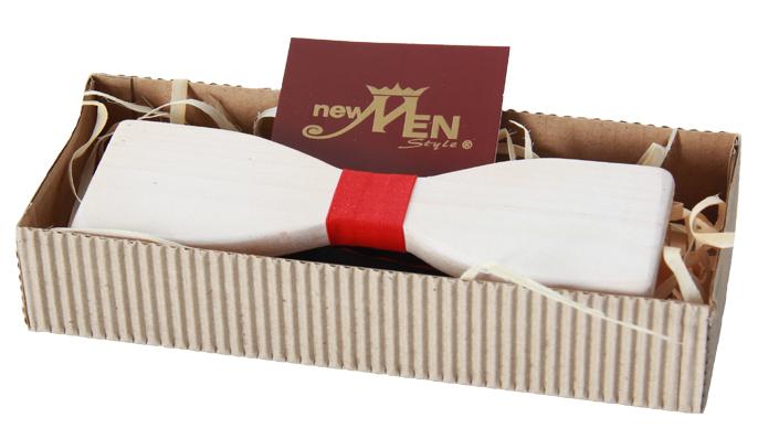 Bräutigamaccessoires Fliege, weiße Holzfliege mit roten Stoffelementen