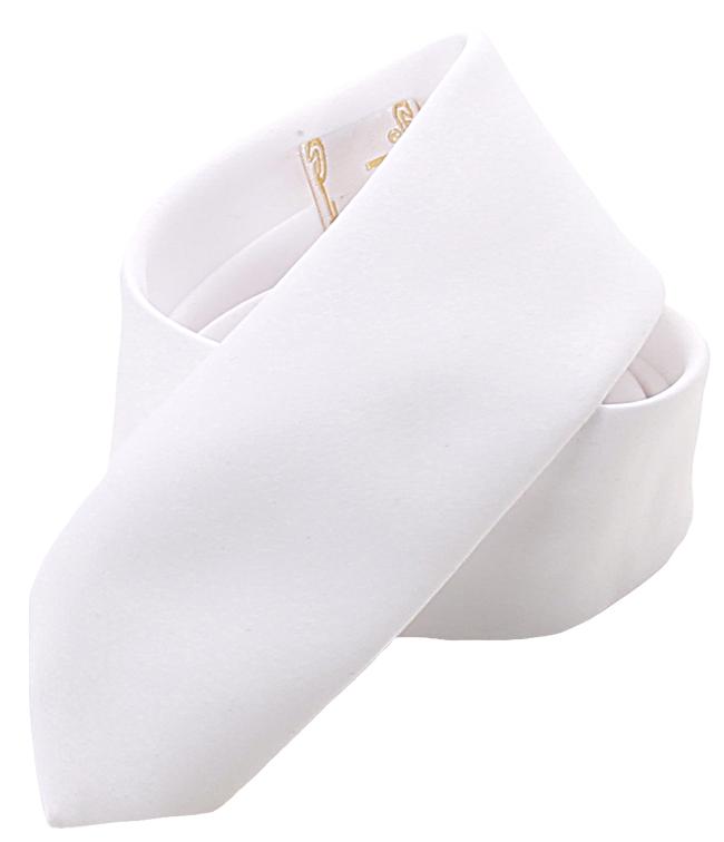 Bräutigamaccessoires Eine Krawatte in weissrem Satin-Stoff, 6,5 cm weit.